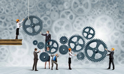Conceptual image of businessteam working cohesively. Interaction